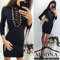 """Женское стильное платье со шнуровкой """"Скарлет"""" (2 цвета) M, черный"""