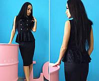 Женское модное черное платье шнуровка с баской из гипюра черный, S-M