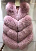 Детский Песцовый Меховой Жилет любой длины и Цвета на Пошив Нежно-Розового цвета Фалды из спинной части Елочка