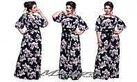 """Длинное женское платье """"Таис"""" масло трикотаж в цветы рукав выполнен из шифона размер 52,54,56"""