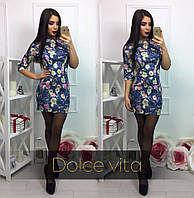 Женское модное платье с цветами  принт-1, S