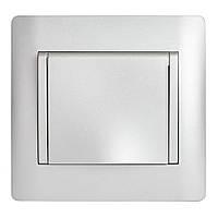 Розетка Одинарная с Крышкой и Землёй OSCAR Серебрянный металик (10шт)