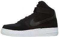 Мужские высокие кроссовки Nike Air Force 1 Mid Black (Найк Аир Форс) черные