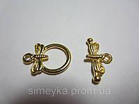 Застёжка тогл для бижутерии (для бус, колье, цепочки, браслета) 2 см Стрекоза Золотистая