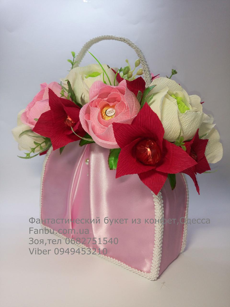 """Подарок из конфет """" Атласная розовая сумочка""""№21, фото 1"""