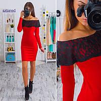 Женское стильное платье с рюшей из гипюра (3 цвета)