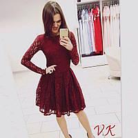 Женское нарядное гипюровое платье с пышной юбкой (3 цвета)