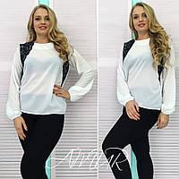 Модная белая  блузка больших размеров с дорогим черным кружевом. Арт-2015/82