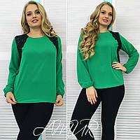 Модная зеленая  блузка больших размеров с дорогим черным кружевом. Арт-2015/82