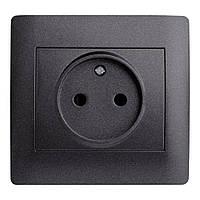 Розетка Одинарная OSCAR Черный (10шт) (Графитовый металик)