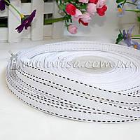 Лента репсовая со строчкой, белая 10 мм