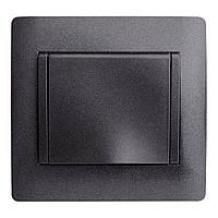 Розетка Одинарная с Крышкой и Землёй OSCAR Черный (10шт) (Графитовый металик)