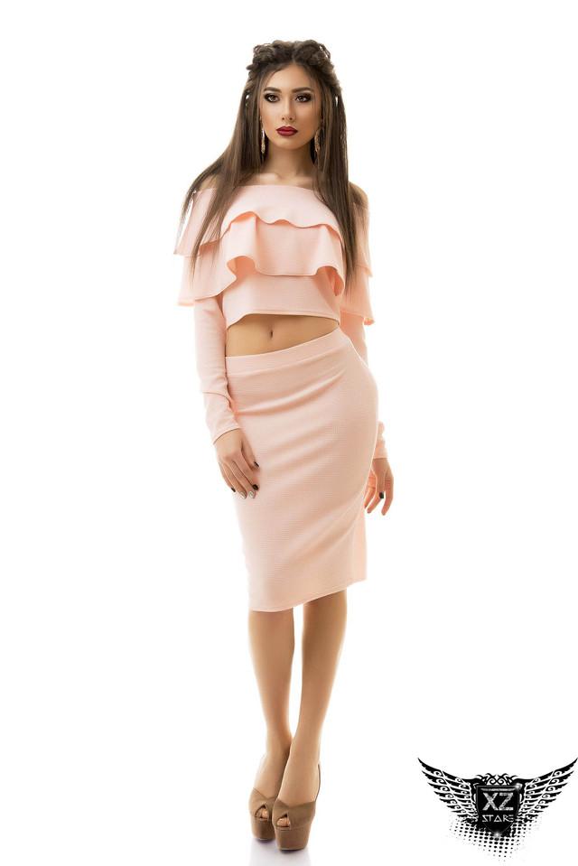женский костюм с юбкой карандаш, топ волан, в офис, бирюза, персик