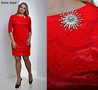 Платье  перёд гипюр - трикотаж спина