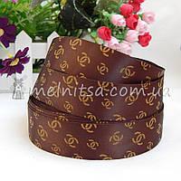 Атласная лента люкс с логотипом Шанель, 2,5 см, коричневый