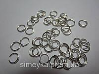 Фурнитура для бижутерии колечки соединительные 6 мм, упаковка 5 г. Серебристые