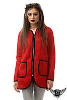 Женский кардиган, пиджак с змейкой и карманами красный, электрик , фото 1