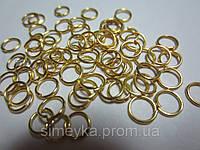 Фурнитура для бижутерии колечки соединительные 6 мм, упаковка 5 г. Золотистые