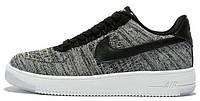 Мужские кроссовки Nike Air Force 1 Low Flyknit Grey (Найк Аир Форс низкие) серые