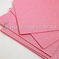 Фоамиран с глиттером, 20х30 см, св. розовый