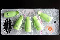 Зажимы - клипсы для снятия гель-лака на блистере зеленые