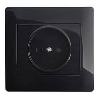 Розетка Одинарная OSCAR  Черный глянец (10шт)
