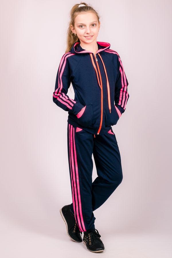 Детский спортивный костюм для девочек с капюшоном брюки на резинке (манжет) трикотажные Турция