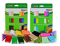 Глина полимерная-пластилин - 2 вида цветов в наборе-ЯРКИЕ и ПАСТЕЛЬНЫЕ, 12 цветов  по 20 грамм.