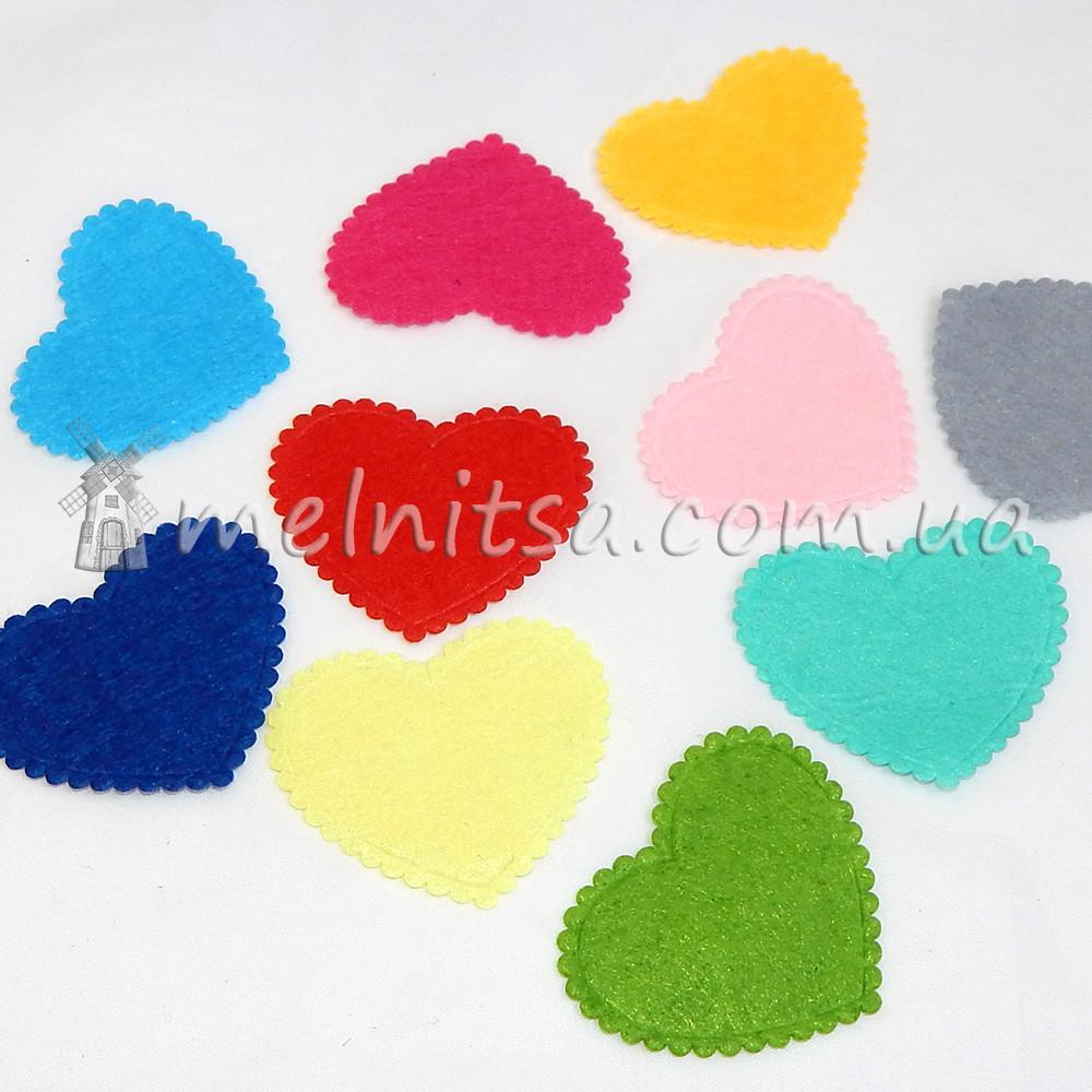 Сердечки из фетра, микс 4,5 см х 3,8 см (5 шт)