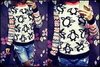 """Женский стильный свитер """"Пингвины"""" (2 цвета) 42-46, джинс"""