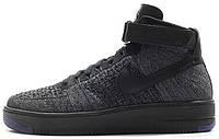 Мужские высокие кроссовки Nike Air Force 1 Mid Ultra Flyknit Black Gray (Найк Аир Форс) черные