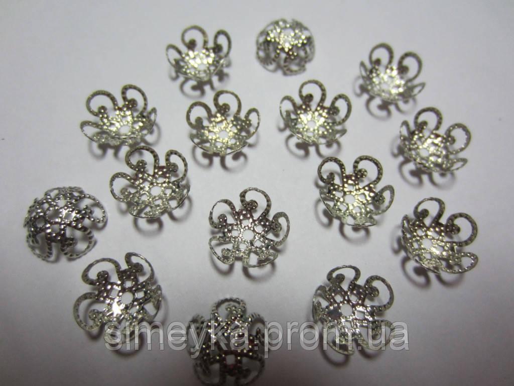 Обниматель для бусин цветок ажурный, диаметр 10 мм, упаковка 10 шт. Серебристый