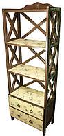 """Этажерка """"Оливки"""" коричневый, 4 полки, 2 ящика, массив дерева (54х29х160 см.)"""