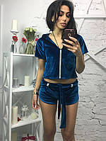 Женский стильный костюм из велюра с камнями (4 цвета) электрик, S-M