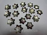 Обниматель для бусин цветок-звёздочка, диаметр 12 мм, упаковка 11 шт. Серебристый