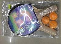 Ракетки для настольного тенниса, 3 шарика, под слюдой (ОПТОМ) T1711