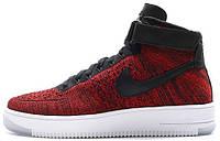 Мужские высокие кроссовки Nike Air Force 1 Mid Flyknit Red (Найк Аир Форс) красные