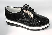 Закрытые туфли на шнуровке для девочек от Yalike 50-1 Black (8 пар, 30-37)