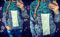 Женский стильный вязанный теплый свитер