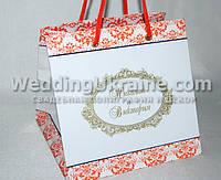 Свадебный бумажный пакет для подарков гостям Pk04