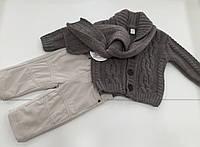Детский костюм - вязаная кофта , брюки ,  шарф для мальчика на 0- 3 месяца
