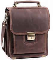 Кожаная сумка планшет СПБ-1 коричневая крейзи