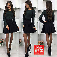 Женское стильное платье с юбкой-солнце (3 цвета) серый/графит, M