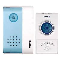 Звонок дверной VOYE V004A: беспроводной, радиус 100 м, питание 2хАА/1х12В, 38 мелодий