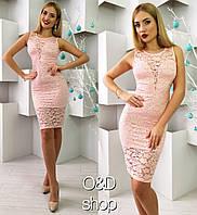 Женское стильное гипюровое платье (3 цвета) красный, S