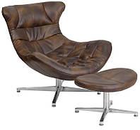 Дизайнерское винтажное кресло Мексика коричневая искусственная кожа с иммитацией винтажных потертостей