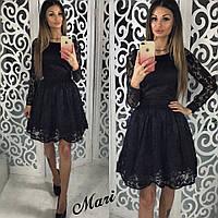 Женское стильное гипюровое платье с пышной юбкой из фатина (6 цветов) черный, S