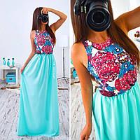 Женское красивое платье макси Узор с шифоном