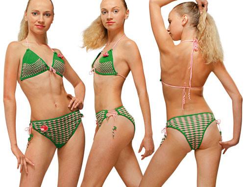Купальник зеленый раздельный вязаный