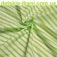 Ткань бязь с полоской 6 мм салатового цвета (№ 606а)